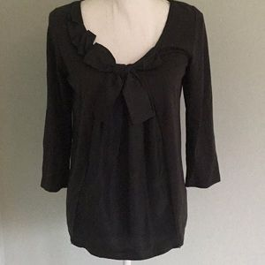 Garnet Hill Black T with silk front and bow
